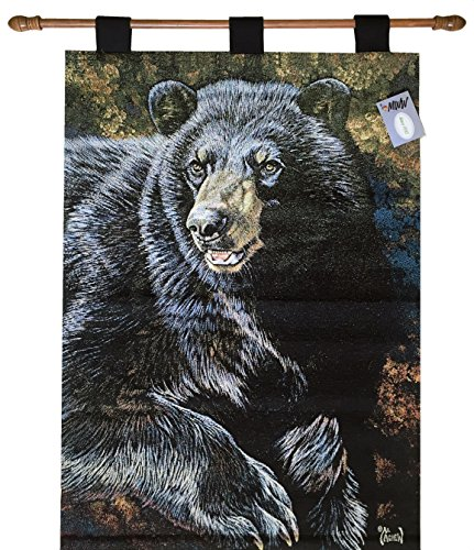Manual Black Bear By Al Agnew Lined Tapestry Wallhanging and Rod HWTBLB 26x36'' Multi by Manual Woodworkers