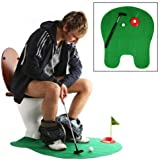 Mini Golf Toilet Bathroom Putting Game - Golfing Indoor Potty Practice Putter Set - Easy to Carry, Training Accessory Funny Gifts for Men Women and Kids