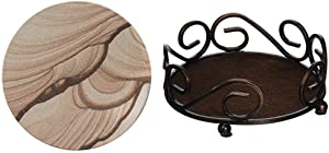 Thirstystone Brand - Desert Sand Coaster, Multicolor All Natural Sandstone - Durable Stone with Varying Patterns, Every Coaster is an Original & Round Scroll Coaster Holder Fits 4.25 Ceramic, Bronze