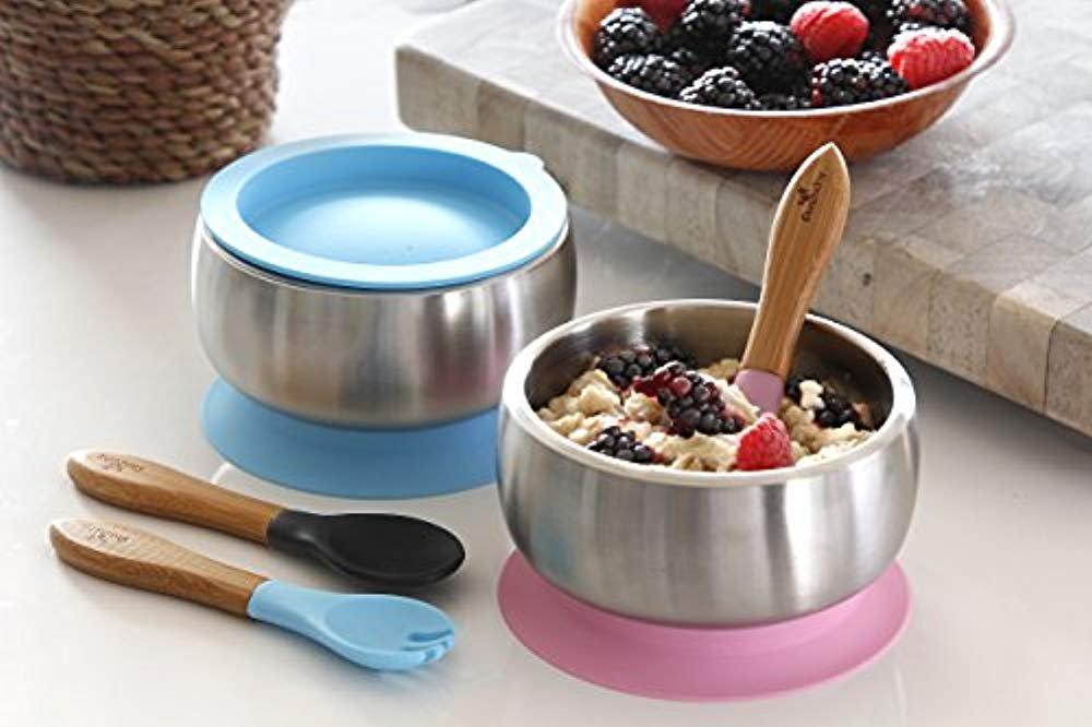 Black Air Tight Lid Great Baby Gift Set Avanchy Baby Feeding Stainless Steel Spill Proof Stay Put Suction Bowl