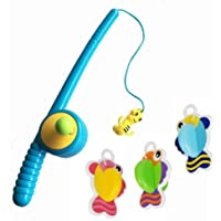 Blossom Fishing Toy with 1 Fishing Rod with Hook & 3 Designer Fishes for Kids which Develops Creativity,Motor Skills and Cooperation Skills in Kids,Multi Color