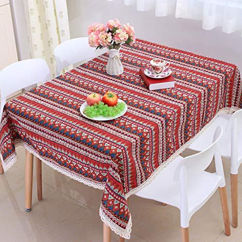 rouge 55\ Stripe Tassel Nappe de Coton Toile de la poussière de la Couverture de Table pour la Cuisine Dinning décoration Bleu-National Style,rouge,55 ×98 (140×250cm)