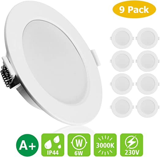 KINGSO 9 Pack LED Spots Encastrables Extra Plat IP44 6W 500lm ...