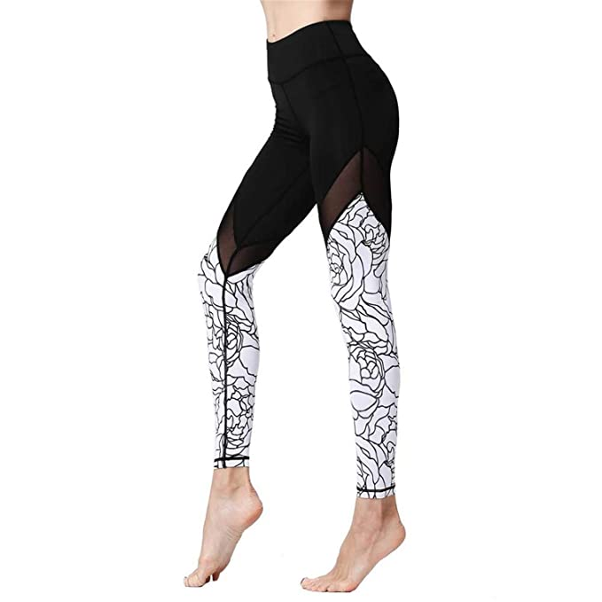 bd74321524ea8 Sexy Women Print Elastic Waist Patchwork Stretch Slim Legging Pant Quick  Dry Fitness Yoga Gym Training
