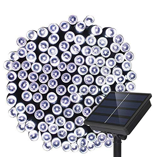 Outdoor Solar String Lights - Dolucky 200LED 55ft 8 Mode Waterproof Garden Decoration Fairy Solar Lights for Patio Lawn Landscape Wedding (White)