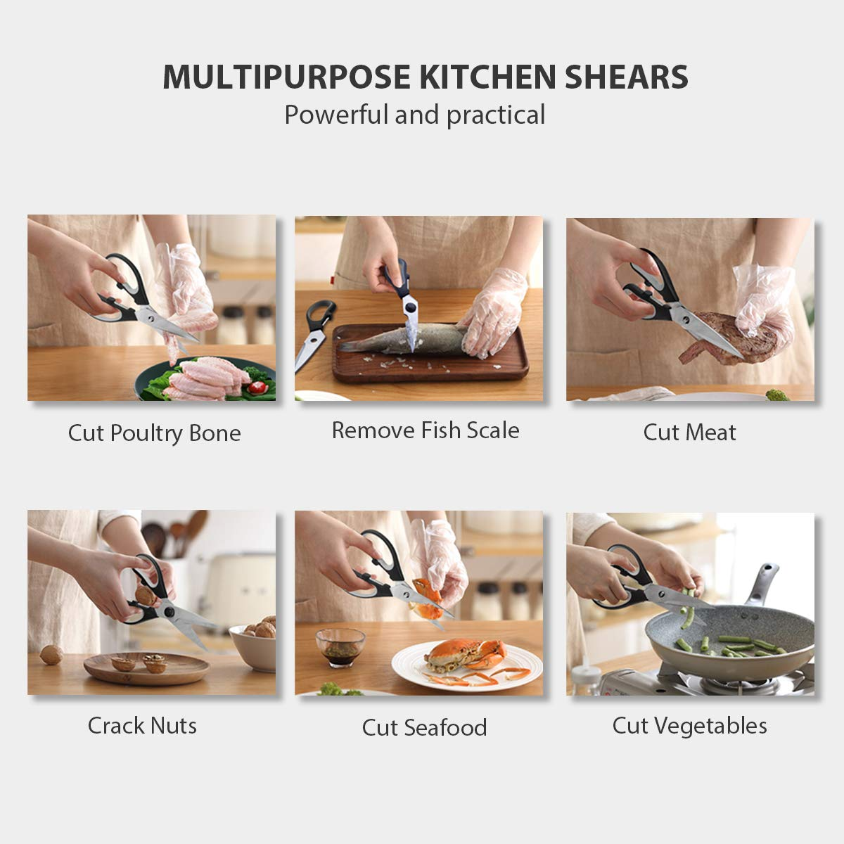 Kitchen Scissors, CUSIBOX Multifunction Come-Apart Kitchen Shears, Heavy Duty Scissors for Herbs, Chicken, Meat and Vegetables, Black