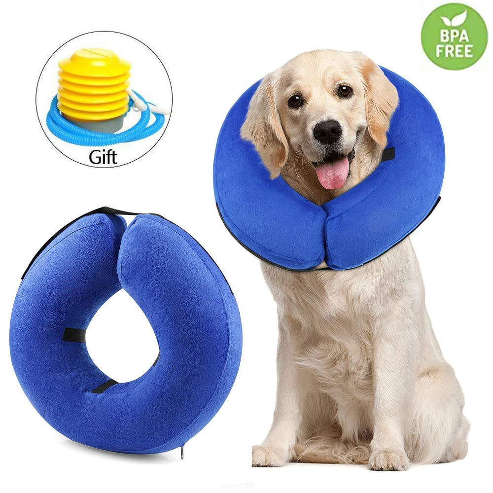 """RAIN QUEEN Dog Inflatable Collar Large, Adjustable Soft Pet Recovery E-Collar with Air Pump for Large Dogs and Cats, Prevent Pets from Touching Stitches, Does Not Block Vision, Neck Size 12"""" to 18"""""""
