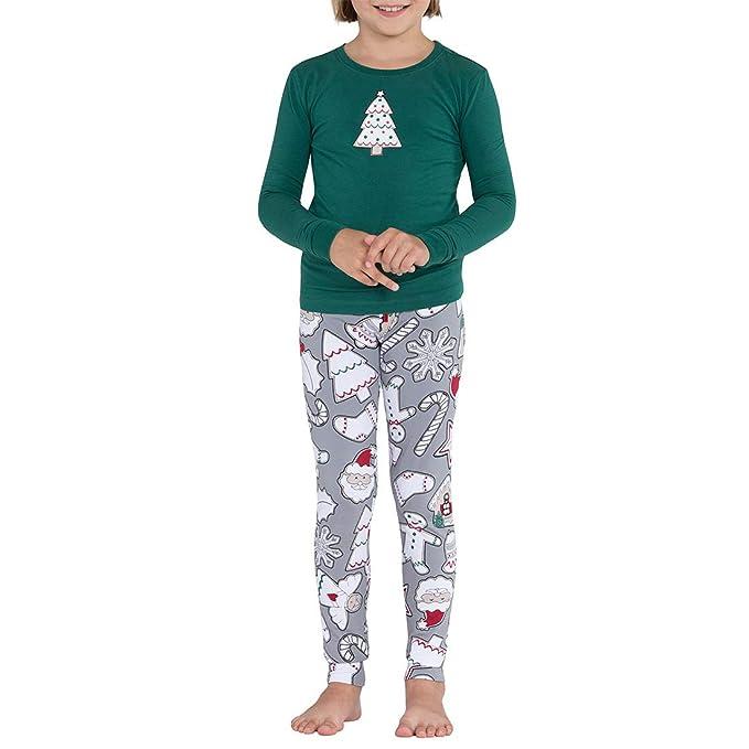 Zhhlinyuan Navidad Santa Conjuntos de Pijamas Familiares - Padre Madre Niños Manga Larga Impresión Traje de Camiseta y Pantalón: Amazon.es: Ropa y ...