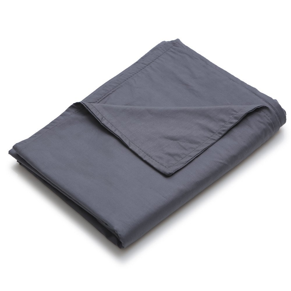 YnM Cotton Duvet Cover for Weighted Blankets (48''x72'') - Dark Grey Print by YnM