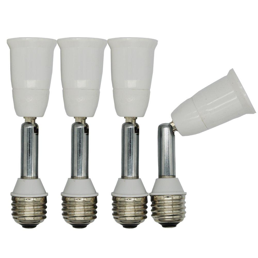 E26 Light Socket Extender,Medium Screw Socket E26/E27 Angle Adjuster Holder Adapter,Solid Neck and Angel Adjustable (Solid Neck/Extends by 4''(10cm),4-Pack)