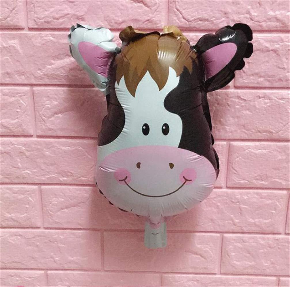 Decoración Divertida para Fiestas Mini decoración de la Fiesta de cumpleaños del niño del Globo de Aluminio de la Historieta (Cabeza de la Vaca)