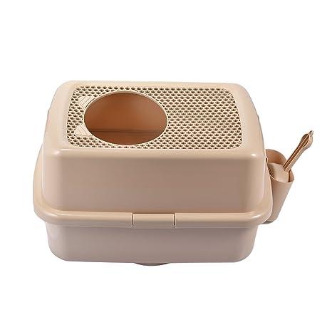Caja de arena para gatos y mascotas, semicerrada, portátil, de malla, con
