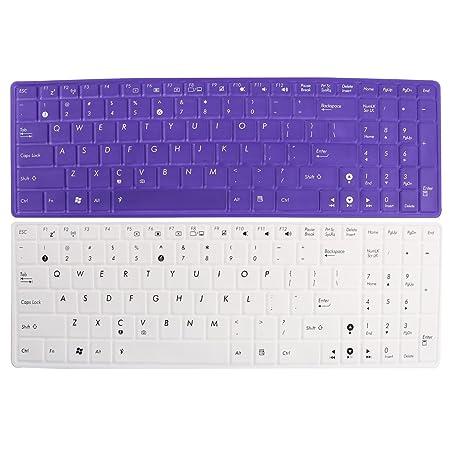 2 pcs blanco violeta teclado piel cubierta de la película para Asus 15 portátil PC