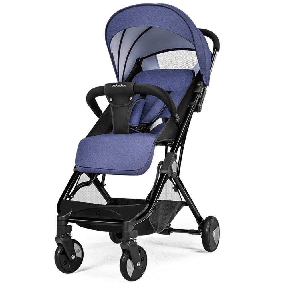 Unbekannt LXZXZ - 4-Rad Kinderwagen Faltbarer Kinderwagen Sitzender Liegender Tragbarer Kinderwagen (Farbe : Dunkelblau)
