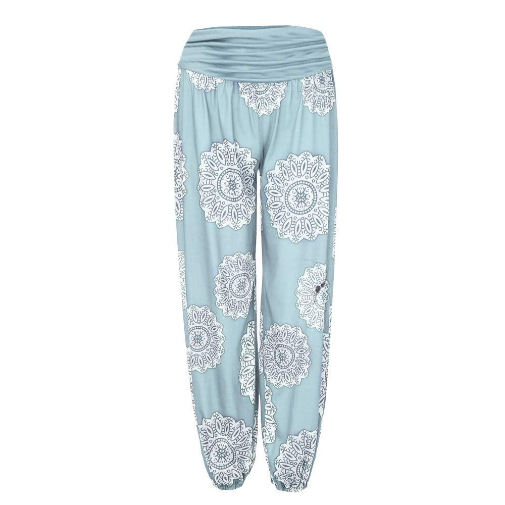 HEFEITONG Womens Loose Print Harem Length Pants Wide Leggings gkidk503 14.23