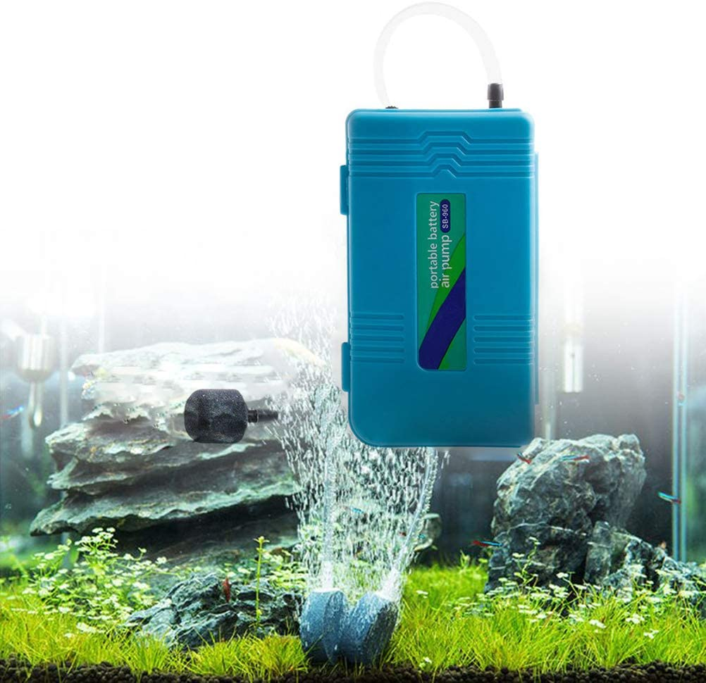 Portable Air Pump Aquarium Standby Oxygen Pump SB960 with Extra 6.6 Feet Length Tubing and 2 Air Stones Odowalker Battery Oxygen Pump Aquarium