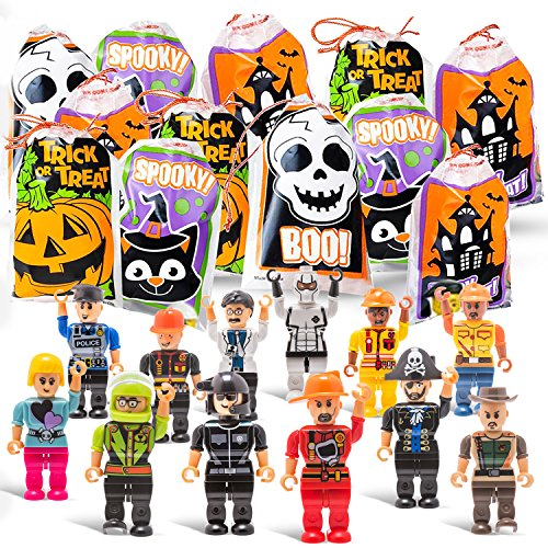 Halloween Trick Or Treat Goodie Bags with Mini Toy Figure Toys, Colorful Novelty Goody Assortment For Kids Party Favors and Filled School Prizes Giveaways -