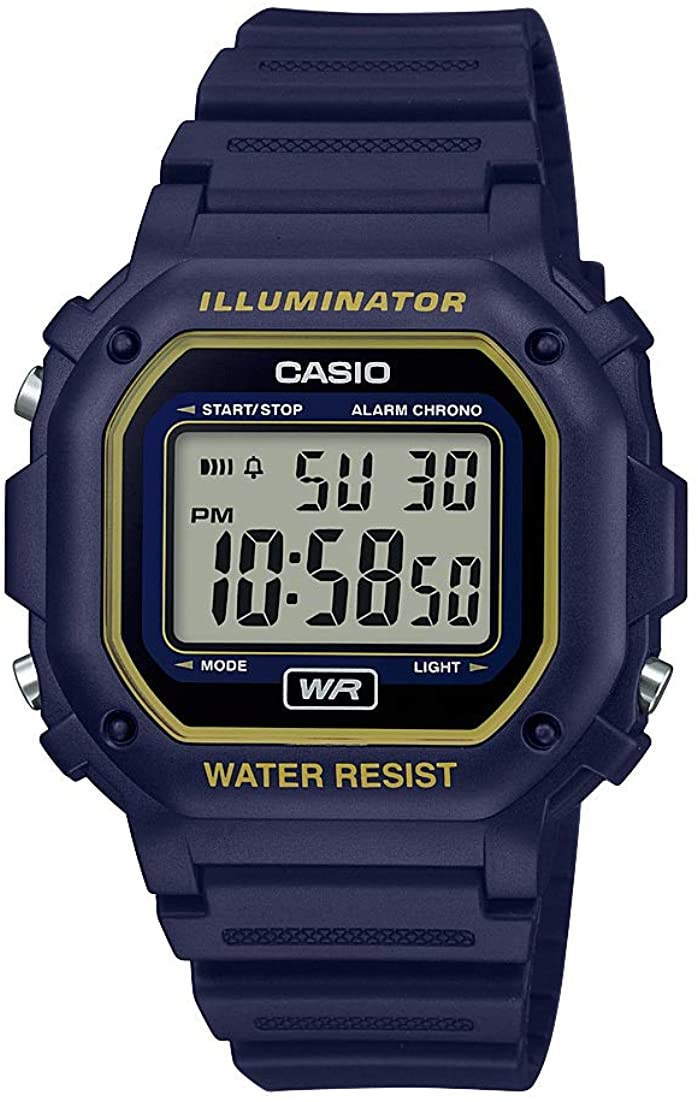 Casio Illuminator Stainless Steel Quartz Watch with Resin Strap, Black, 23.7 Model F-108WH-2A2CF