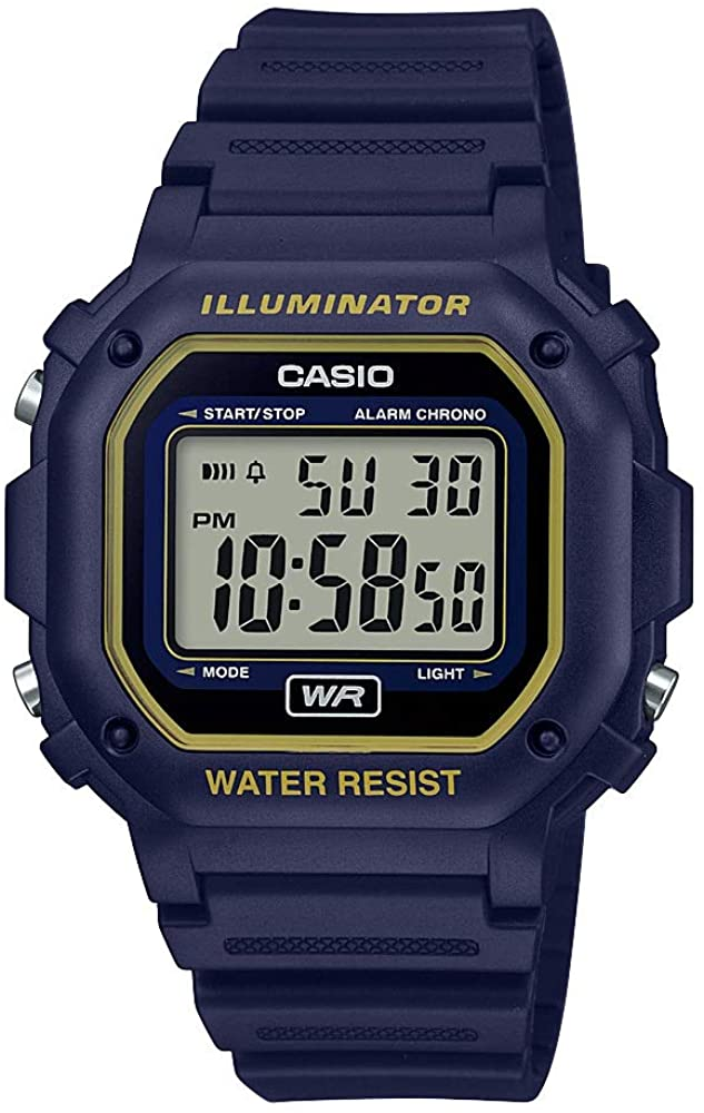 Casio Illuminator Stainless Steel Quartz Watch with Resin Strap, Black, 23.7 (Model: F 108WH 2A2CF