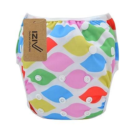 iZiv(TM) Recién Nacido Orgánico Infantil Impermeable/Ajustable/Reutilizable/Lavable Pañal