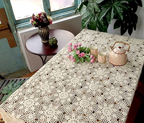 YOYOMALL China Handmade Crochet Hook Flowers Woven Hollow Tablecloth,Beige Crocheted Openwork Tablecloth,Beautiful European Pastoral Style Rectangular Table Cover for Wedding Party. (140*200CM(55''by 79'')) by Table Cloths