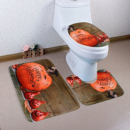 Gillberry Happy Halloween 3pcs/set Bathroom Non-Slip Blue Ocean Style Pedestal Rug + Lid Toilet Cover + Bath Mat 7 Pattern (B.) -