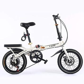 BESTROO 16 Pulgadas Plegable Bicicleta Mini Hombres Y Mujeres Frenos De Disco Amortiguador Plegable Bicicleta Ultra Ligero Estudiante Adulto Bicicleta(Spoke wheel,White): Amazon.es: Bebé