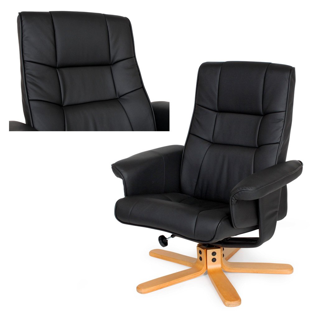 TecTake Luxury Faux Leather TV Armchair Recliner With Footstool Relaxer  Chair With Wooden Feet Black: