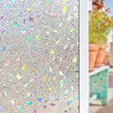 frosted glass gems - 3D Frosted Decorative Window Film No Glue, Window Decal Glass Film/Privacy Protection/Heat Control/Anti UV, Stained Glass Static Cling for Kitchen/Bedroom/Livingroom, 35.5x78.7 inch Gem