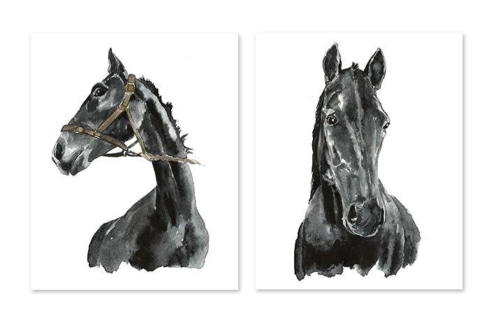 Horse Art #A003   Set Of 2 Art Prints(8x10).Black And