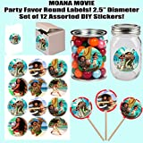 """Moana Maui Disney Movie Large 2.5"""" Round Circle Stickers to Place onto Party Favor Bags, Cards, Boxes or Containers -12 pcs"""