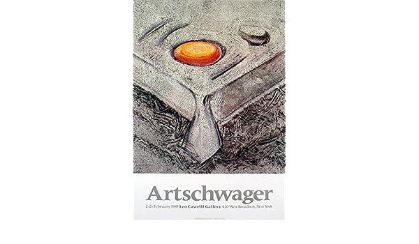 """Orange RICHARD ARTSCHWAGER At Castelli/'s 33/"""" x 23/"""" Poster 1985 Brown"""