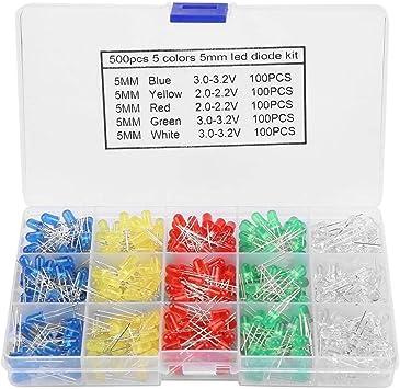500Pcs 3mm LED Light 5 Color Mixed DIY Assortment Diodes Kit Light-emitting Box