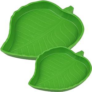 TDPET 2Pack Leaf Reptile Food Water Bowl - for Pet Aquarium Ornament Terrarium Dish Plate Lizards Tortoises or Small Reptiles (2Pack Green)