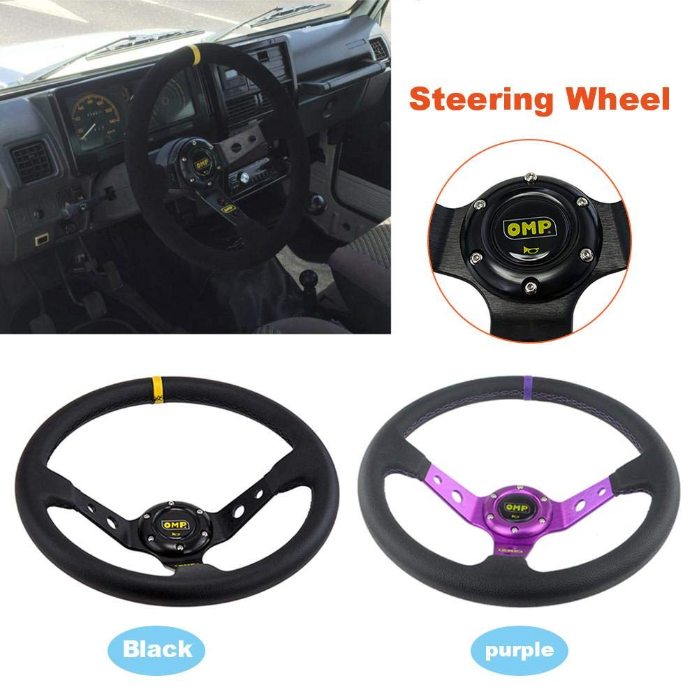 Snow-Day Steering Wheel Modify OMP Steering Wheel PVC Leather Imitation Car Racing General Steering Wheel 14 Inches//350mm