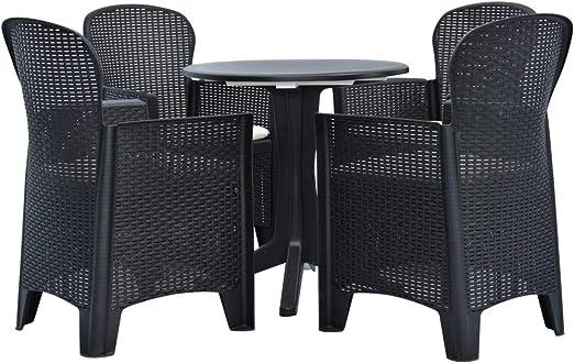 Tavoli E Sedie In Plastica Da Giardino.Vidaxl Set Da Pranzo Da Giardino 5 Pz In Plastica Tavolo E Sedie