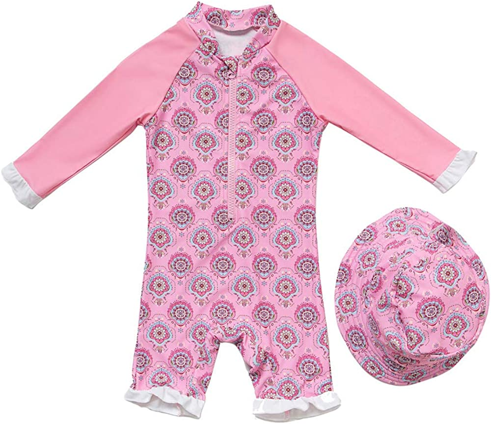 Sun Protection Baby Girl Swimsuit One Piece Sunsuits Long Sleeve with UPF 50