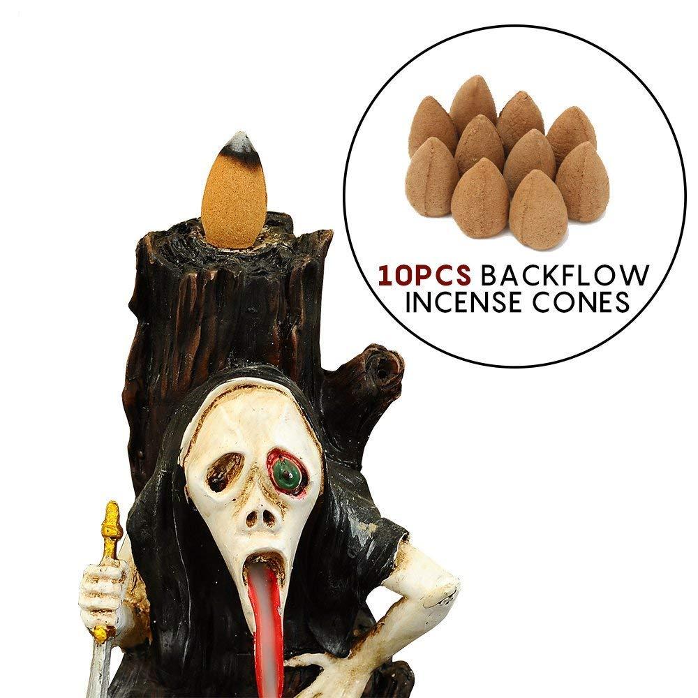 Hansense Resin Skull Backflow Incense Burner Holder with Incense Cones - Halloween Ghost Head