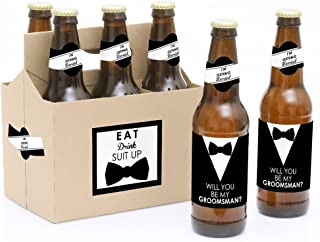 product image for Suit Up - Will You Be My Groomsman Decorations for Men - 6 Beer Bottle Label Stickers and 1 Carrier