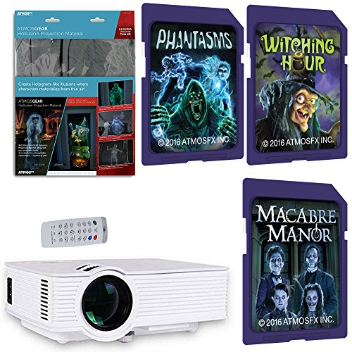 AtmosFearFx Witchng Hour, Phantasms & Macabre Manor SD Card Projector Kit Bundle. Includes Hollusion Hollographic Projection Screen,1900 Lumen LED Video Projector and AtmosFearFX SD Cards