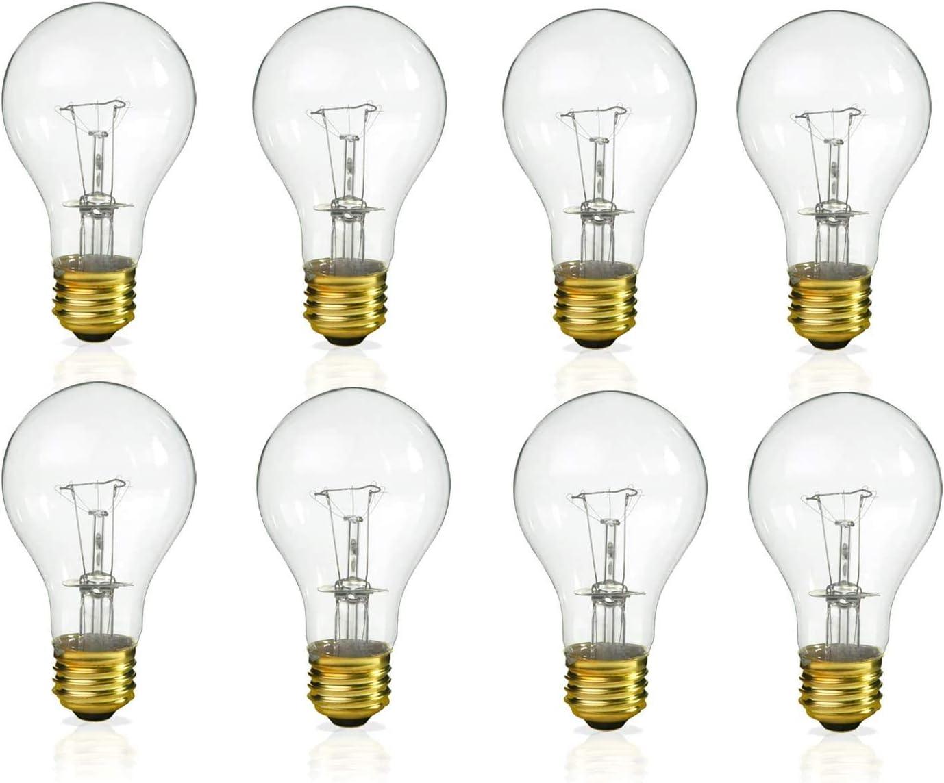 (Pack of 8) Incandescent 60 Watt A19 Light Bulb: Clear Standard Household E26 Medium Base Rough Service Light Bulbs