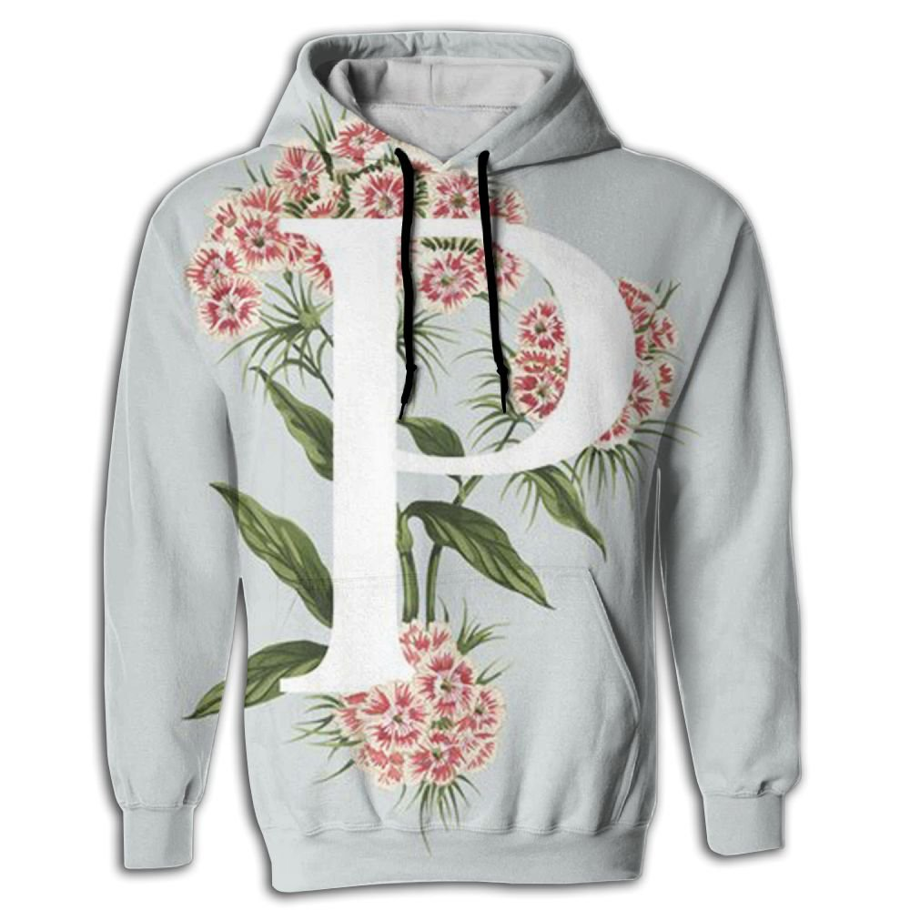 MREXA Art Flower Letter P Mens Hoodie Sweater 3D Printed Fashion Athletic Pullover Hooded Sweatshirt