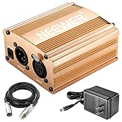 Neewer 1-channel 48v Phantom Power Supply With Adapter & Xlr Audio Cable For Any Condenser Microphone Music Recording Equipment (Gold)