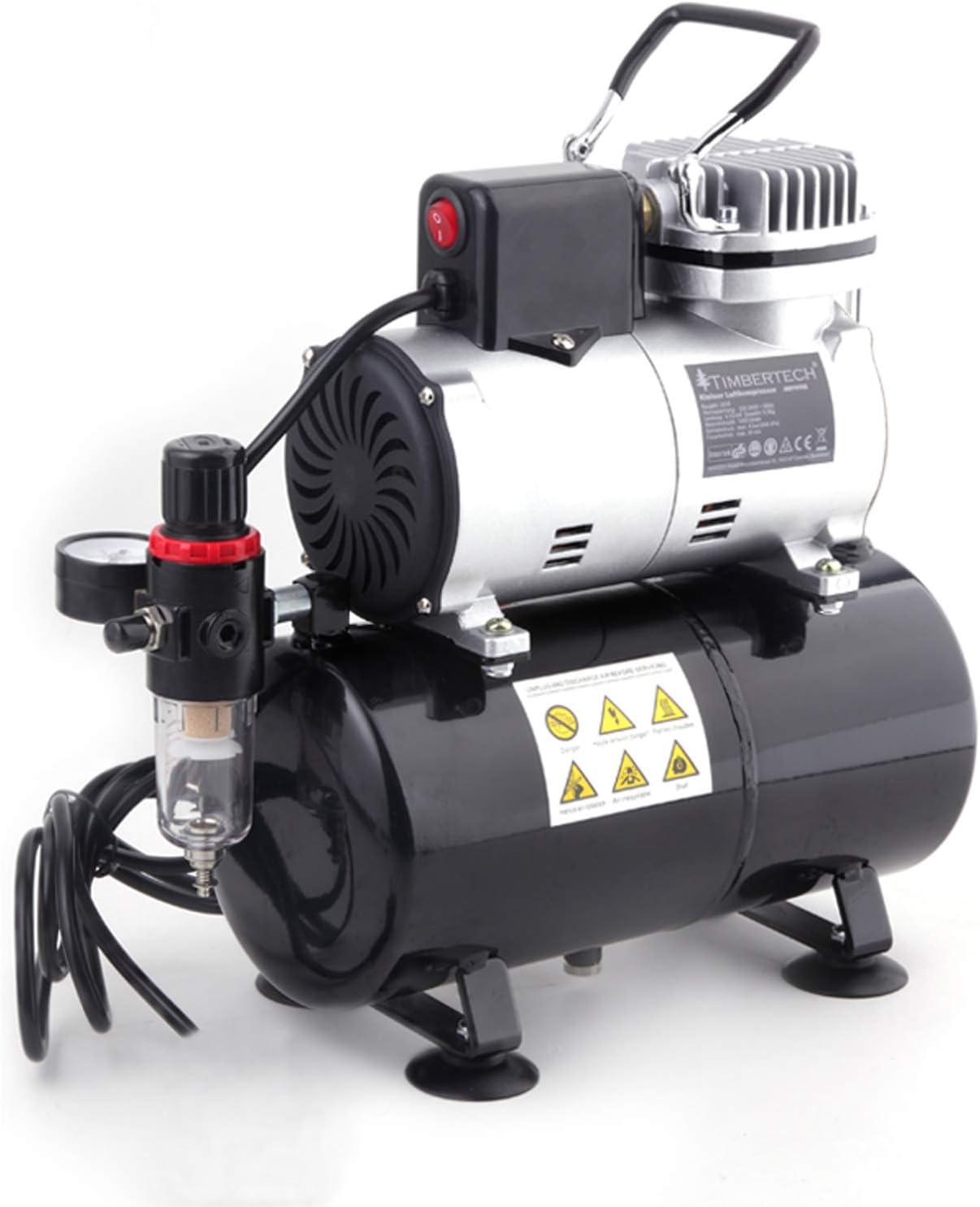 TIMBERTECH compresor aerografo mejorado con ventilador de enfriamiento / tanque de aire / autoarranque automático para belleza, tatuajes, uñas, etc.