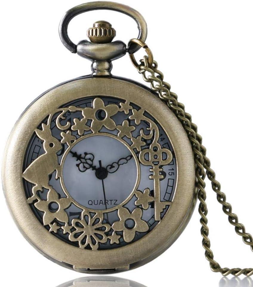 YXZQ Reloj de Bolsillo, Antiguo Conejo Clave Flor Cuarzo Hueco Hermoso Collar Colgante Cadena niñas Mujeres