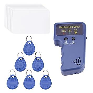 Escritor de la tarjeta de identificación RFID de 125 KHz de mano/Duplicador de copiadora + 6pcs Tarjetas de identificación de escritura y 6pcs Kit de ...