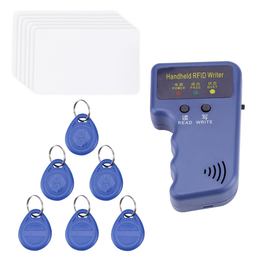 Akozon 125KHz Handheld 125KHz RFID Card ID Reader/Writer/Copier/Duplicator + 6 ID Cards + 6 Tags Kit