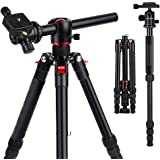 "K&F Concept 60"" Professional Aluminum DSLR Video Overhead Camera Tripod Monopod 5 Sections with 3/8"" Exchangeable 360 Degree Ball Head and Quick Release Plate Transverse Center Column TM2515T"