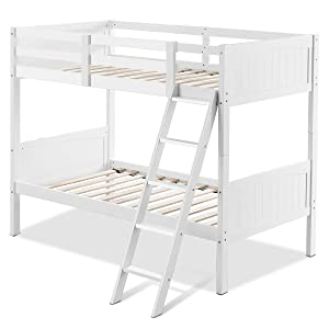 GOFLAME Twin Over Twin Bunk Beds, Convertible Into Two Individual Solid Rubber Wood Beds, Children Stylish Sleeping Bedroom Furniture with Ladder and Safety Rail for Kids Bedroom (White)