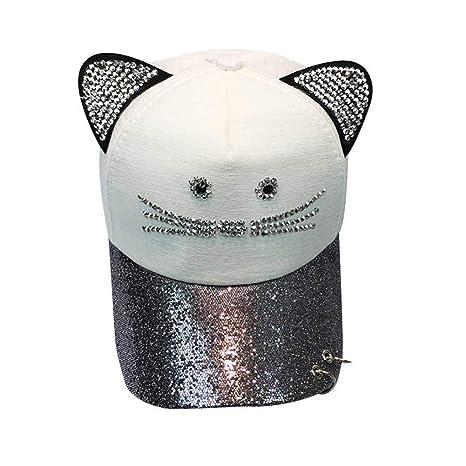 WOFDDH Gorra De Beisbol,Lindo Gato Mujer Ear Sequin Ring Gorra Hat ...